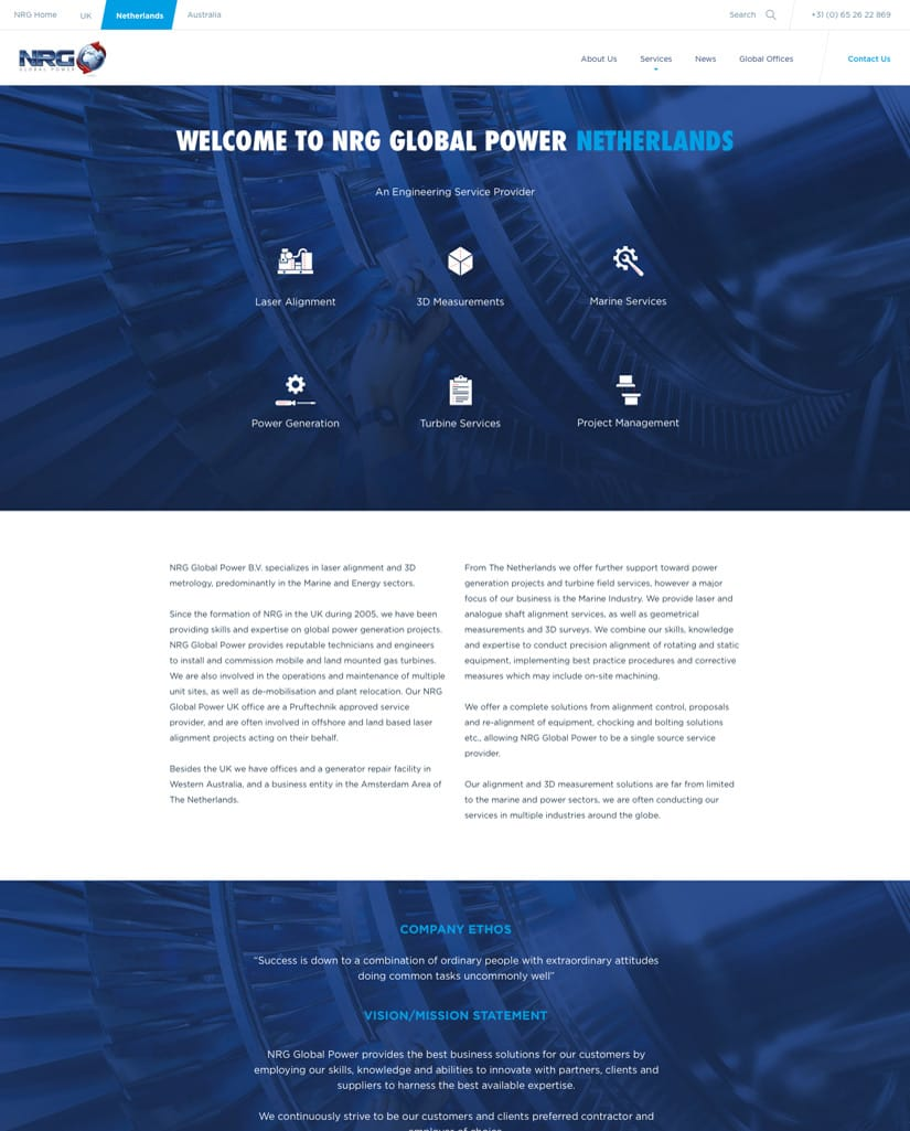 NRG Global Power wireframe